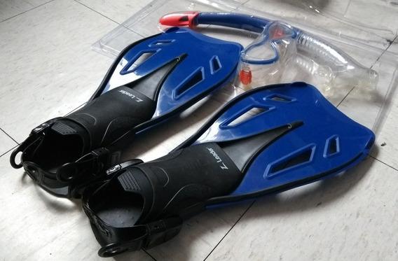 Aletas 19-21.5 Z Leader Azul Visor Y Snorkel Kit Natación