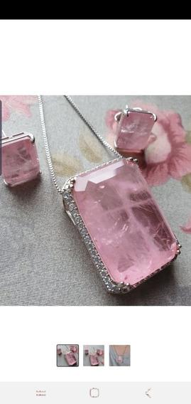 Conjunto Semi-joia Brincos E Colar Quartzo Rosa
