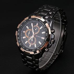 Relógio Preto Curren Luxo Masculino Original Pulseira Ferro