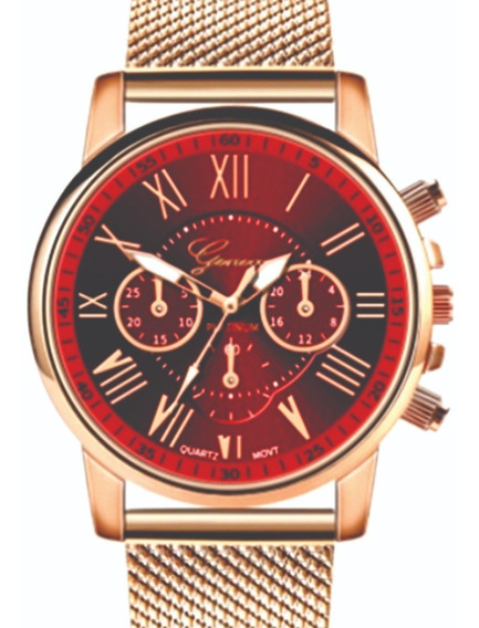 Relógio Feminino Pulso Aço Inoxidável Geneva Vermelho