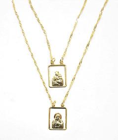 Escapulário Nossa Senhora Do Carmo Vazado Folheado A Ouro