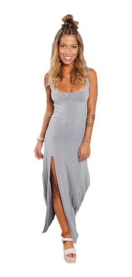 Vestido Feminino Longo Com Alça E Fenda Na Perna Casual