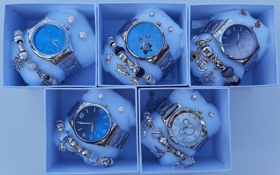 Kit Relógio Feminino Barato 2 Pares De Brincos E 1 Pulseira