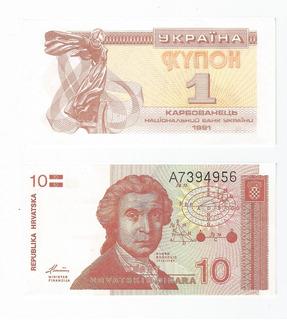 2x$15.000 Hermosos Billetes Miniatura Ucrania Y Croacia