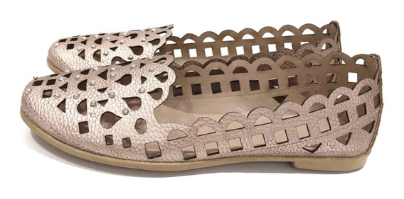 Zapatos Mujer Chatita Calada Tachas Simil Cuero Primavera