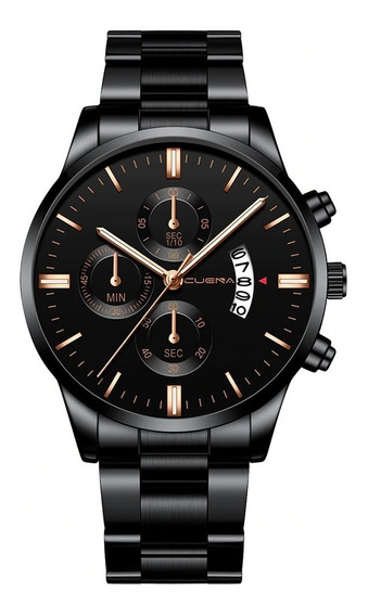 Relógio Masculino Preto Dourado Esporte Aço Inoxidável