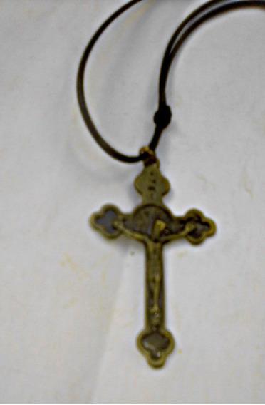 Cordão Regulável Pingente Cruz Jesus 5cm Folheado Ouro Velho