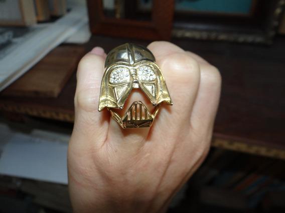 Anel Darth Vader Metal Dourado Strass Articulado