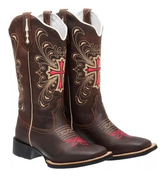 Bota Feminina Botina Texana Bico Quadrado Cano Longo Couro