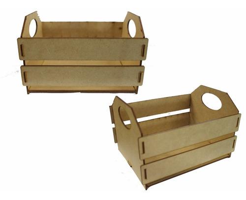 Imagem 1 de 1 de 10 Pçs Mini Caixote Caixotinho Feira 24x18x15,5cm Mdf Crú N4