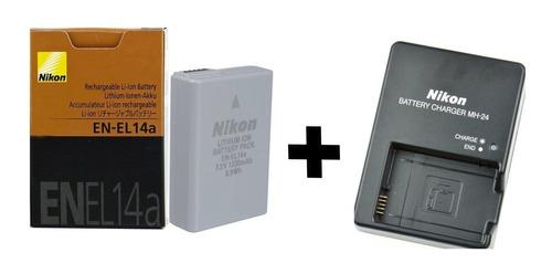 Bateria Recarregável Nikon En-el14a C/ Carregador Mh-24