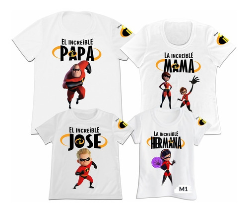Camiseta Set 4 Familia Papa Mama Hijo Los Increibles 2