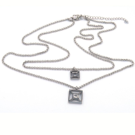 Collar De Acero Plateado Doble Square Solitario Eg