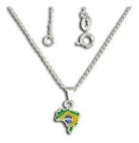 Gargantilha Folheada A Prata Mapa Do Brasil