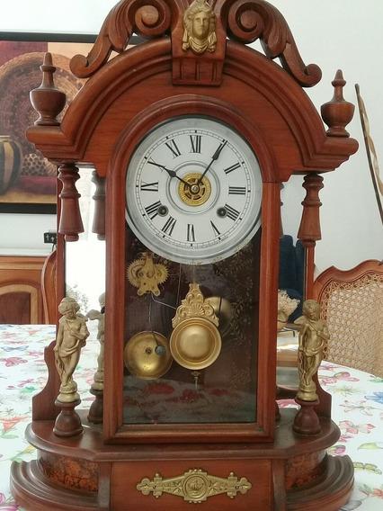 Reloj Antiguo Ansonia Del Año 1870 De Cuerda Y Despertador