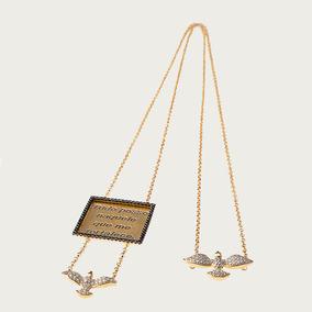 Escapulário Em Ouro 18k (750) Com Diamantes E Espinélios