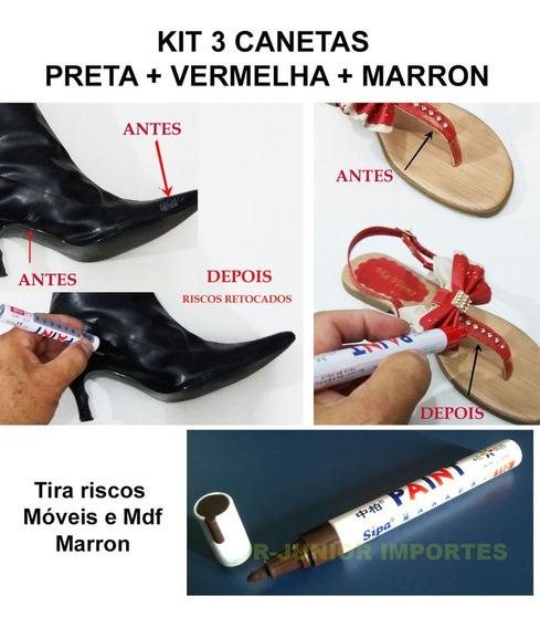 Caneta Para Retoque Riscos Tênis-sapato-bota Kit 3 Canetas
