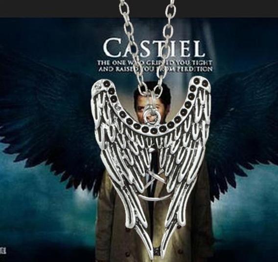 Colar Supernatural Castiel Asas E Pentagrama Frete Fixo 10 Reais