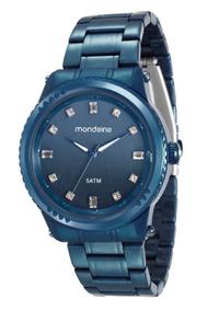 Relógio Mondaine Feminino Azul C/pedras 34980