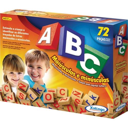 Imagem 1 de 4 de Brinquedo Pedagogico Madeira Abc Alfabeto Letras 72 Peças