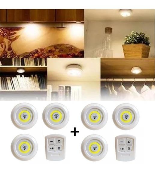 2 Kit 3 Lâmpadas Led Spot Sem Fio Controle Remoto Luminária