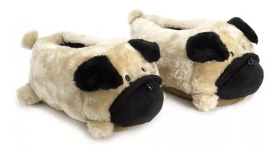 Pantufa De Cachorro Pug 3d Solado De Borracha Ricsen Fofinho