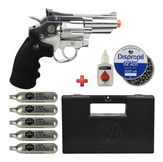 Revólver 38 Calibre 4.5mm Co2 Rossi Full Metal Cromado + Kit