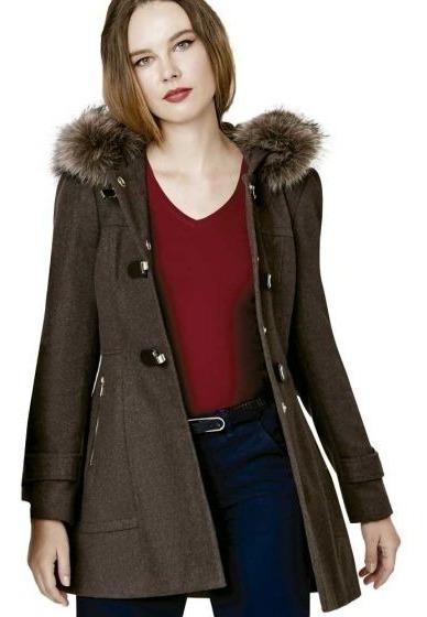 Lindo Abrigo Femenino Cálido, 2tonos Moda Disponible Navidad