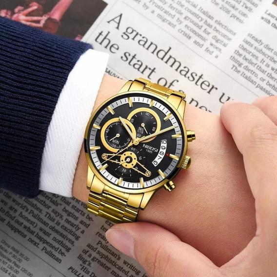 Relógio Nibosi Luxo Original Funcional Promoção Barato