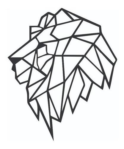 Leão Geometrico Para Decoração - Mdf Preto