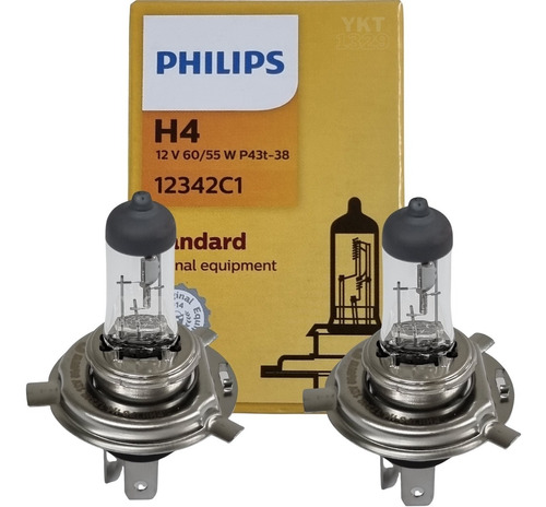 Imagem 1 de 10 de Par Lampada Philips Halogena H4 12v 60w/55w Standard 12342c1
