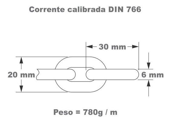 Corrente Aço 6mm Galvanizada À Fogo Din 766 Náutica X 50 Mts