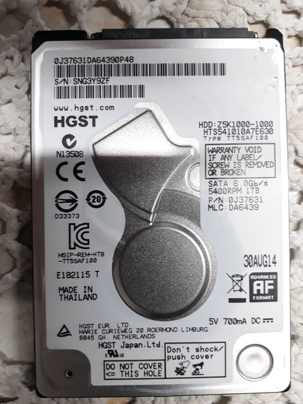 Hd 1tb - 5400 - Sata 6gb - Hgst
