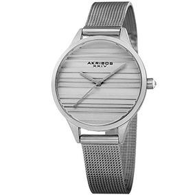 461381039ec0 Akribos Xxiv Reloj De Pulsera De Malla De Plata Estriada