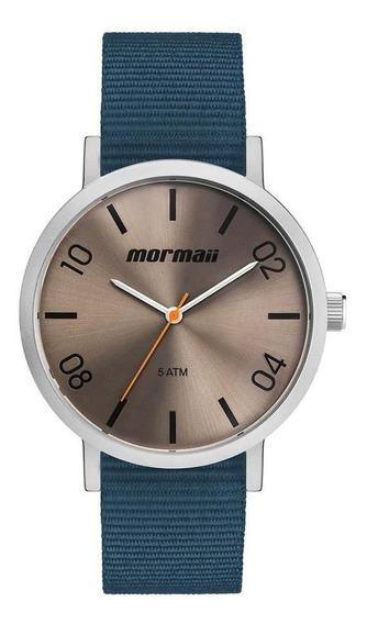 Mormaii Mo2035kb/oa Relogio Unissex Cx De Aço Pulseira De Nylon Wr50m 1 Ano De Garantia Nf 43mm Diâmetro