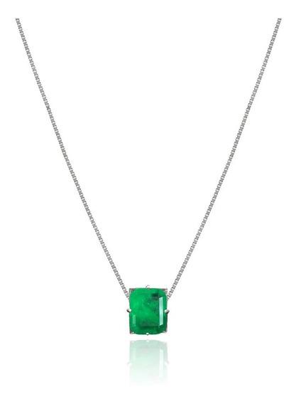 Colar Esmeralda 60cm - Prata 925