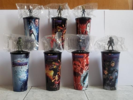 Coleccion 7 Vasos End Game Cinemex Avengers Con Figuras