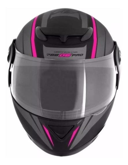 Capacete para moto integral Pro Tork Evolution G6 Pro preto/rosa tamanho 56