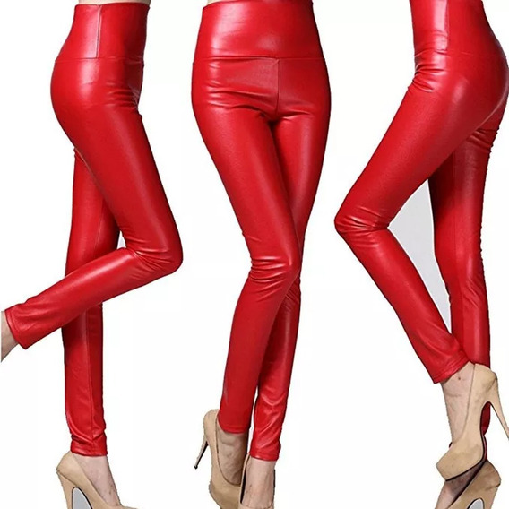 Calzas Engomada Roja Con Faja Cintura Alta Tiro Alto