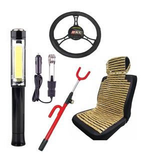 Kit Accesorios Auto 5 En 1 Cubre Asiento Linterna Calentador