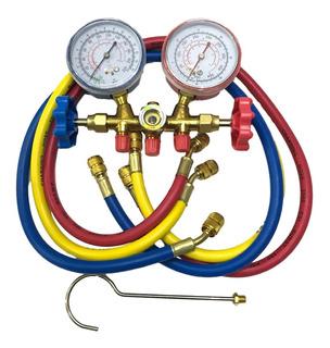 Manifold Refrigeracion R22 R12 Con Visor Y Mangueras