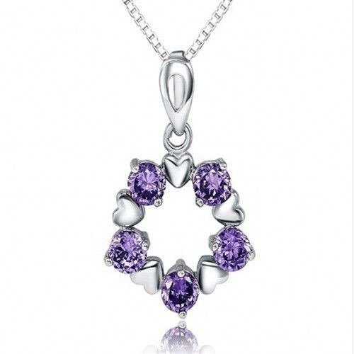 Collar De Corazones Y Cristales Purpura Plata Esterlina