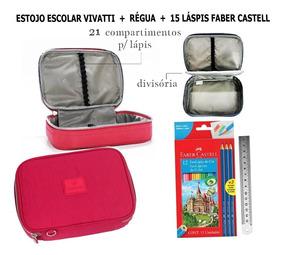 Estojo Escolar Vivatti + Régua + 15 Lápis Faber Castell
