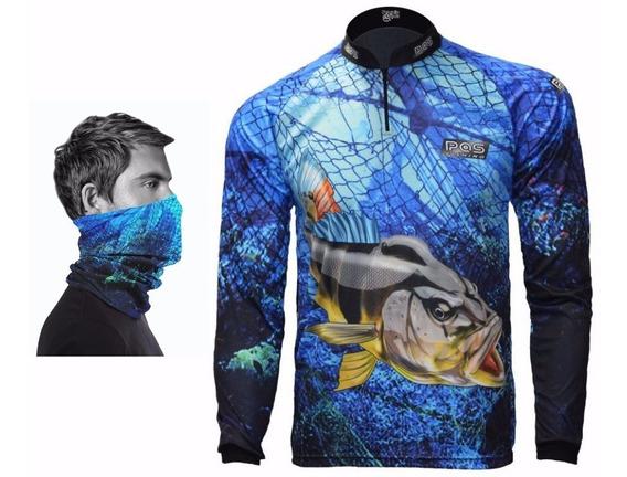 Camiseta De Pesca + Bandana De Proteção ) Uv 50+ Ref 30