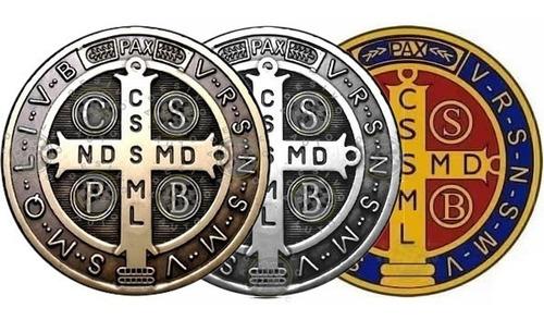 3 Adesivos Medalha De São Bento Cruz 10 Cm Frete Grátis