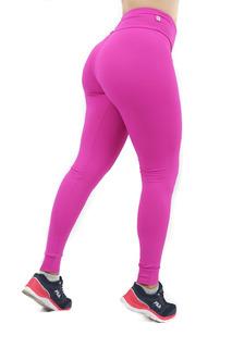 Calça Feminina Legging Rosa Compressão Cos Alto
