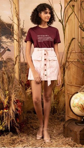 Antix Shorts Saia Faixa Coraonça Rosa 6219 Novo Com Tags