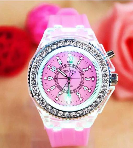 Relógio Feminino Geneva Led Luxo Várias Cores Promoção
