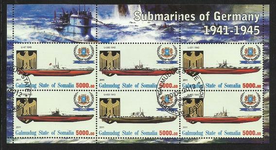 Somalia 2011 Bloque 9 Estampillas Barcos Submarinos Alemanes