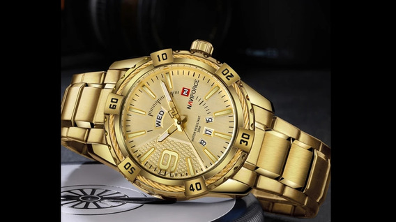 Relógio Masculino Naviforce Original Dourado